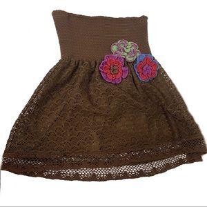 Judith March Strapless Crochet Floral Top Medium